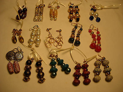 15 Pairs Pierced Handcrafted Bead Earrings Cosplay, Fantasy, Holiday  NEW