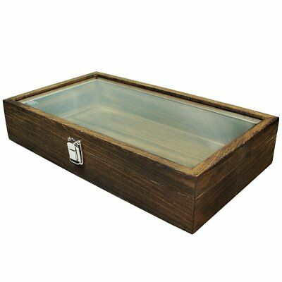 Jewelry Display Case Natural Wood Tempered Glass Top Storage Organizer Holder