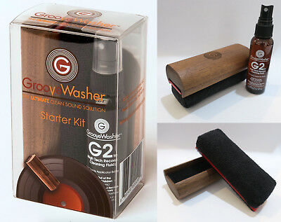 GROOVE WASHER Walnut Handle Replaceable Pad & 60ml Fluid Vinyl Record Cleaner