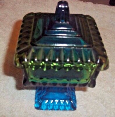 "Vintage Blue Green Jeanette Glass Square Candy Dish  6"" TALL X 3 1/2"" W"
