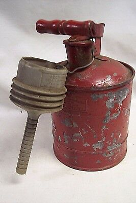 Vintage Justrite Safety Gas Can 1 Gallon With Attached Funnel