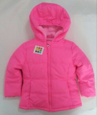 Healthtex Toddler Girls Bubble Hooded Winter Jacket Coat Pink 3T NWT puffer