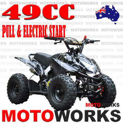 49CC ELECTRIC START SPORTS ATV QUAD Pocket Dirt Bike mini 4 Wheeler kids BLACK