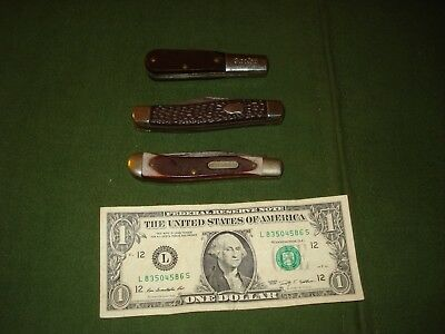 1950's GROUP OF 3 VINTAGE FOLDING POCKET KNIVES, SCHRADE, BARLOW, IMPERIAL, NICE