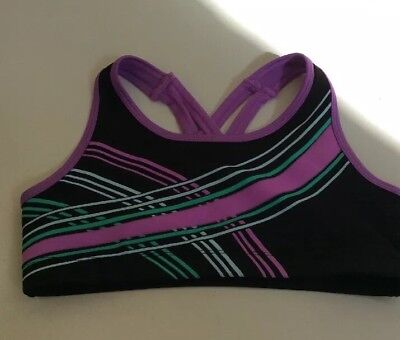 Justice Girl's Bra Sports Athletic Black Purple Green White Size 32