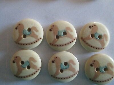 6 x  18mm Wooden BUTTONS- Rocking Horse - Sewing or Scrapbooking No1345