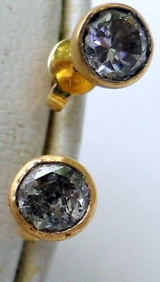 vintage 22K  solid gold cubic zircon studs earrings pair simple classic design