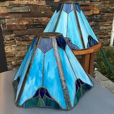 1 Of 2 Genuine Antique Mission Era Blue Stained-Glass Lamp Shade Tiffany Style