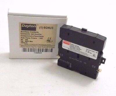 DAYTON 6GNU3 Auxiliary Contact - 10A - Side Mount - 220VAC/110VDC - PPD Shipping
