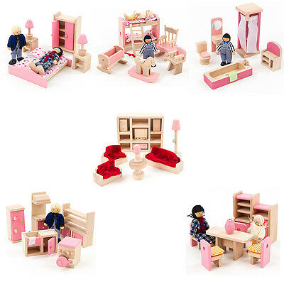 Kids Baby Wooden Furniture Dolls Gift House Miniature Room Dolls Decor Party POP