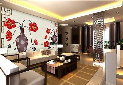 3D Red Bouquet Vases 8 Wall Paper Murals Wall Print Wall Wallpaper Mural AU Kyra