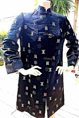Vintage Harilela's Haori Jacket Cheongsam Neck Mandarin Coat Size Small Medium