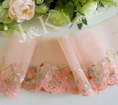 9.5 cm width Pretty Light Salmon Embroidery Mesh Lace Trim