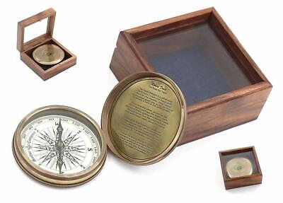"""3"""" Robert Frost Poem Compass with Glass Top Hardwood Box"""