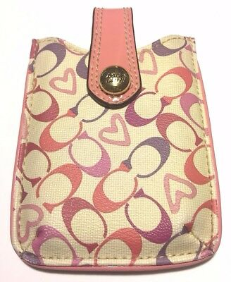 Coach Pink Beige and Purple Signature Small Cell Phone Holder Pouch Case