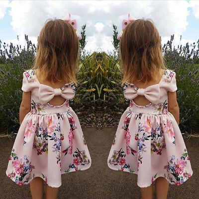 USA Stock Baby Girl Floral Dress Kid Party Wedding Pageant Formal Dress Sundress