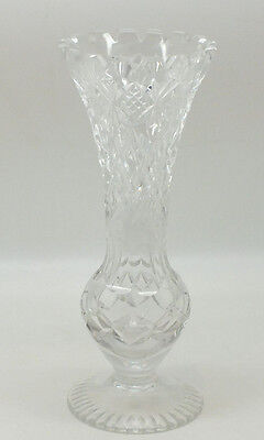 Cut Glass Crystal Fluted Vase 18.5 cm height FREE P&P