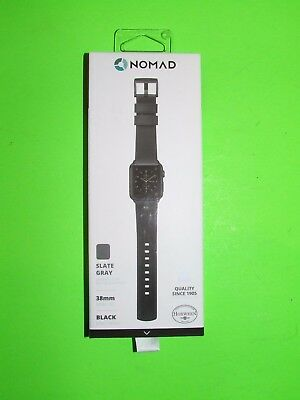 Nomad - U.S.A Leather Watch Strap for Apple Watch 38mm - Gray with Black Lugs !