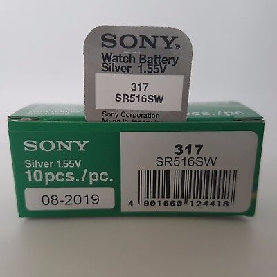SONY 317 SR516SW BATTERY BATTERIES SILVER OXIDE 1.55V WATCH CELL x 1 2 3 4 5 10