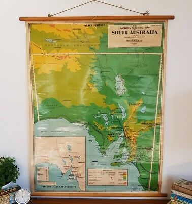 Vintage Teaching School Map~South Australia~ Roll Down Wall Hanging 1960s #1