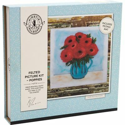 Kirstie Allsopp Poppies Felted Picture Kit Canvas Mat Wool Home Decoration Craft