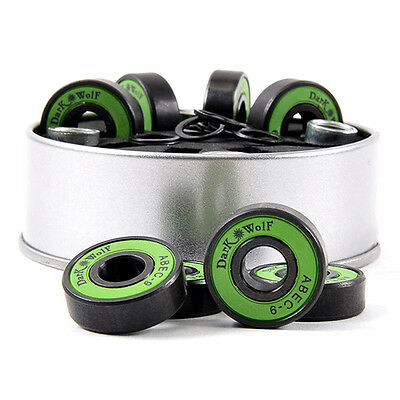 8x Stainless Dark Wolf Skateboard Bearings ABEC-9 Speed with 4x Spacer Set EDC·