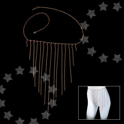 Gold Sexy Alloy Waist Thight Flying Tassel Body Belly Bikini Chain Evening Party