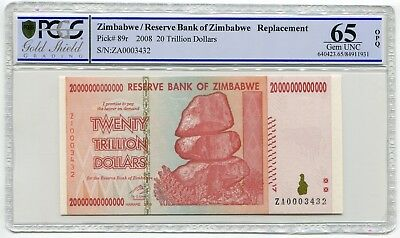 Zimbabwe 20 Trillion Dollars 2008 Banknote Graded PCGS Gold Shield GEM UNC 65