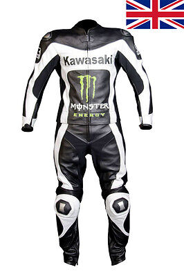 Two Piece KAWASAKI Racing Leather Suit  two piece motorcycle leathers