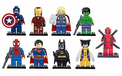 9Pcs Marvel Avengers Super Heroes Mini figures Building Blocks Toy Set UK SELLER