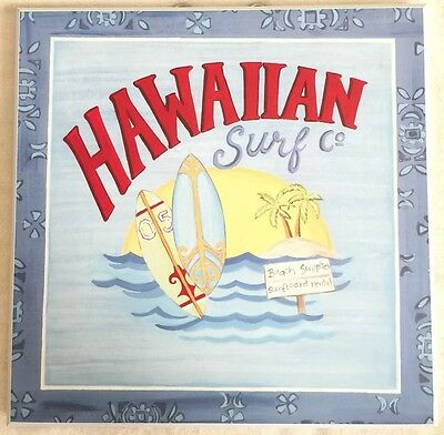Hawaiian Surf Company Sign Wooden Plaque by Target Home Brands Surfing Fun