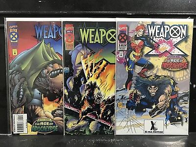 Lot of 3 Weapon X #1 2 4 (1995 Series Marvel) Age Apocalypse Shipping Deal! D