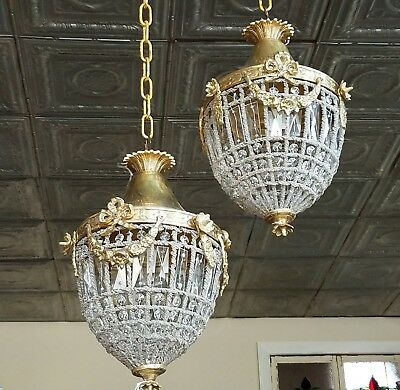 Antique pair of French brass  & crystal chandeliers