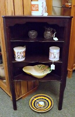 Vintage Mahogany Stained Corner Wall Bracket with 3 Fitted Shelves