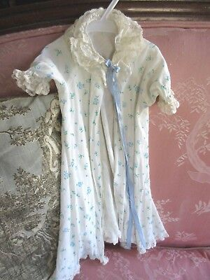 VTG 1950s Madame Alexander Tagged Original Cissy Doll Robe Blue Flower Lace Trim