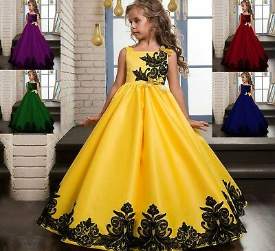 Flowers Girls Dresses Wedding Bridesmaid Princess Embroidery Formal Party Gowns