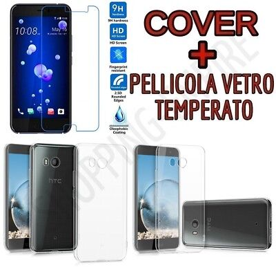 CUSTODIA COVER TPU GEL per HTC U11 + PELLICOLA in VETRO TEMPERATO