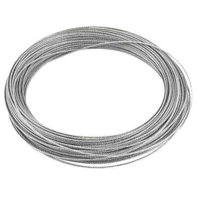 Binding 7X7 1.2mm Dia 25M Long Stainless Steel Flexible Wire Rope Gray U6S6
