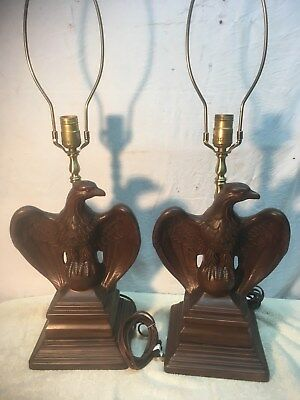 Vintage Pair of Ceramic American Eagle on ball Patriotic Table Lamps Mid Century