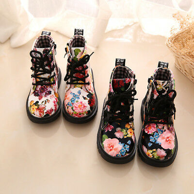 Kids Girls Toddler Floral Midcalf Martin Casual Shoes Antislip Lace Ankle Boots