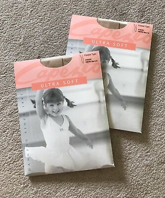 NWT Capezio Girls Footed Tights, Size 8-12, Tan Nude Dance 1815C, Lot Of 2
