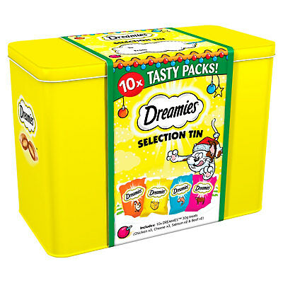 Dreamies Christmas Gift Tin Cat Treats 10 Packs of 30g