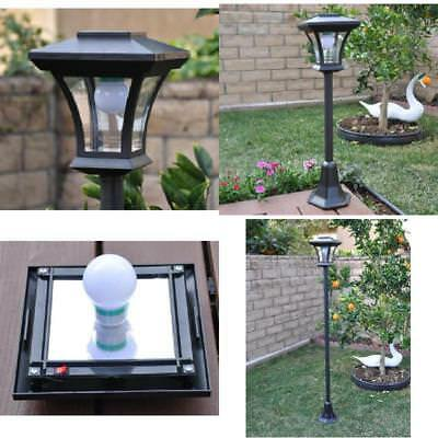 Solar Light Lamp Post Outdoor Garden Landscape Lighting Driveway Deck Pole Black