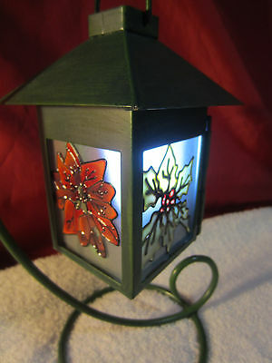 Vintage Metal Candle Holder Lantern W/ Stand and Candles ~ Holly Stained Glass