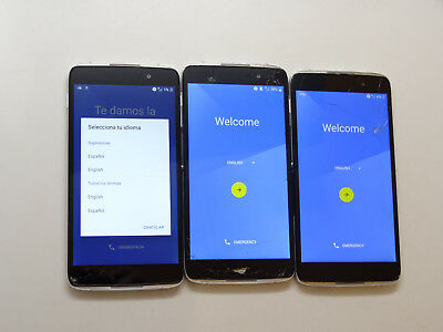 Lot of 3 Alcatel OneTouch Idol 4 6055U Cricket Smartphones AS-IS GSM Cracked