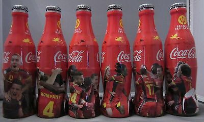 Set of 6 Coca-Cola Bottles Belgium Soccer UEFA Euro 2016