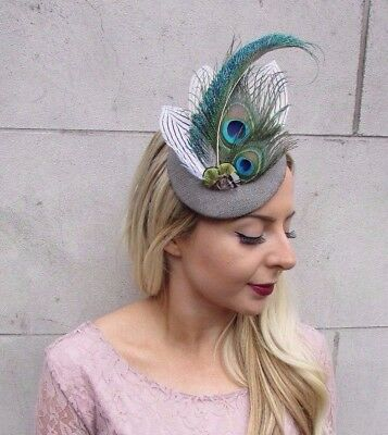 Soft Grey Green White Tweed Peacock Feather Pillbox Hat Races Fascinator 4420