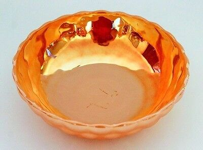 Large Vintage  Peach Lustre BUBBLE Pattern Bowl By ANCHOR HOCKING