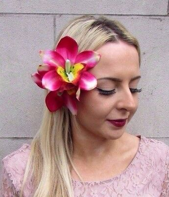 Double Hot Pink Orchid Flower Hair Clip Rockabilly 1950s Fascinator Lily 4421