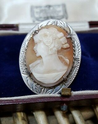 Vintage 1979 Sterling Silver Cameo Brooch, Ward Brothers, Rare, Hallmarked